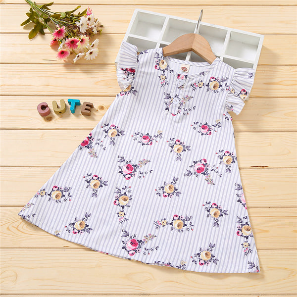 Girls Striped Floral Printed Flying Sleeve Dress wholesale kids clothing suppliers