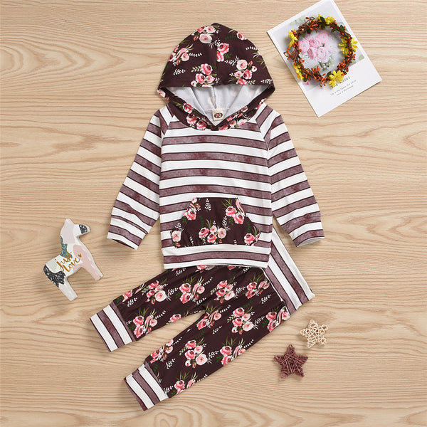 Baby Girls Striped Floral Printed Hooded Top & Pants Wholesale Girls
