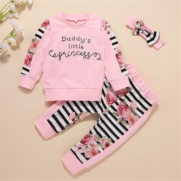 Girls Striped Floral Printed Long Sleeve Top & Trousers Wholesale Girl Clothing