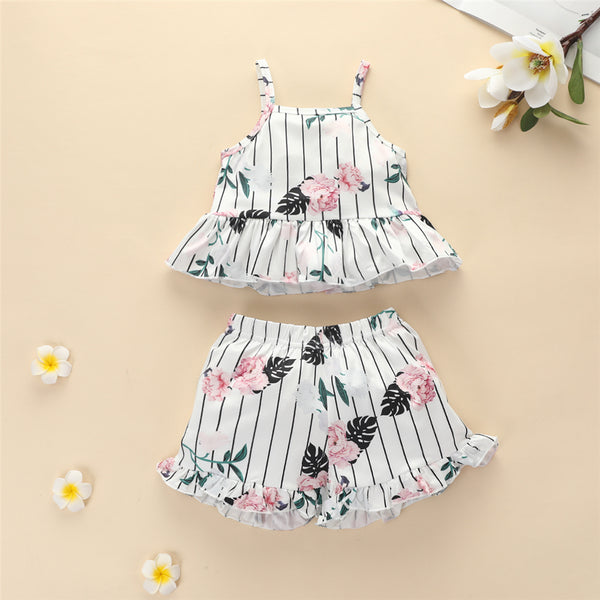 Baby Girls Striped Floral Printed Sling Top & Shorts Wholesale Designer Baby Clothes