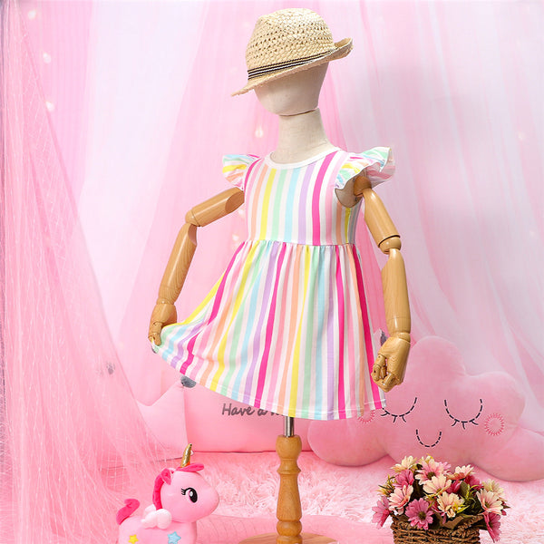 Girls Striped Flutter Sleeve Casual Dress Kids Clothing Vendors