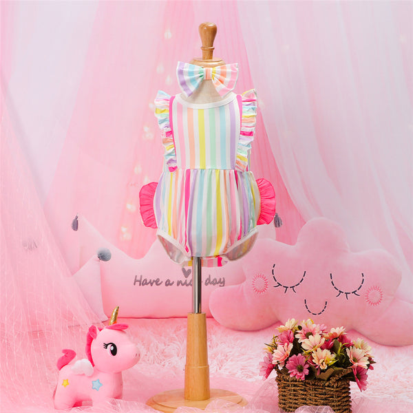 Baby Girls Striped Flutter Sleeve Romper & Headband Wholesale Baby Clothes