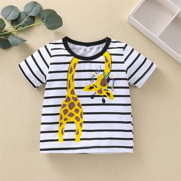 Baby Unisex Striped Giraffe Printed Short Sleeve Top Baby Boutique Clothing Wholesale