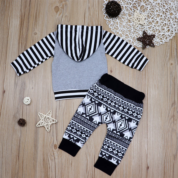Baby Boys Striped Halloween Printed Top & Pants Wholesale Baby
