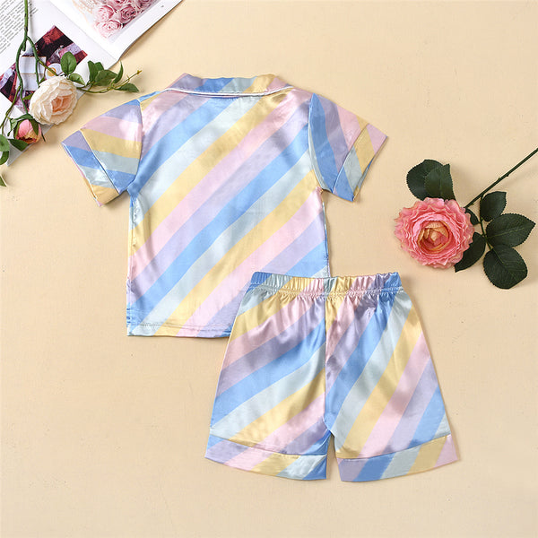 Unisex Striped Homewear Button Short Sleeve Pajamas Top & Shorts Kids Wholesale Clothing