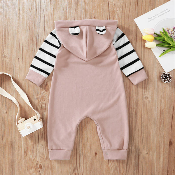 Baby Girls Striped Hooded Long Sleeve Romper Baby Wholesale Clothes