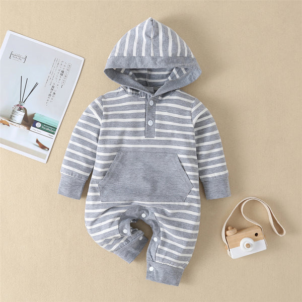 Baby Unisex Striped Hooded Long Sleeve Romper Wholesale Clothing Baby