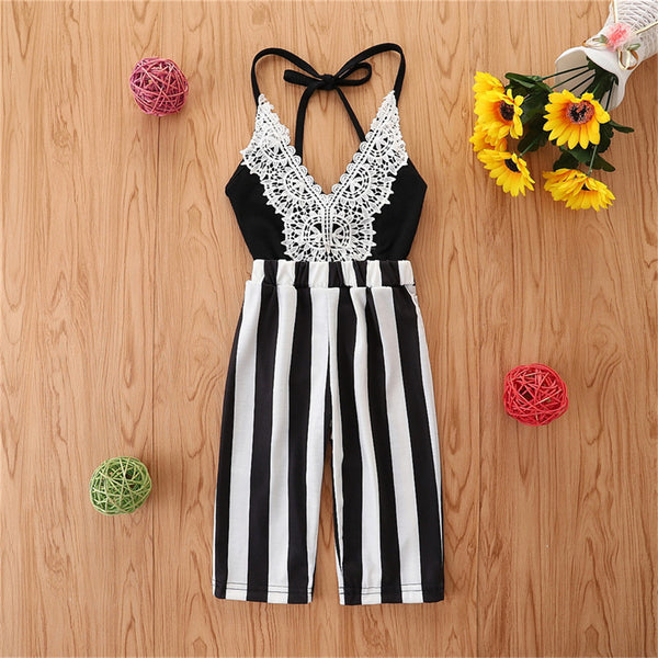 Girls Striped Lace Splicing Sling Jumpsuit kids clothes wholesale