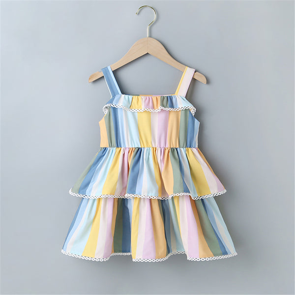 Girls Striped Layered Sling Dress Kids Clothing Suppliers