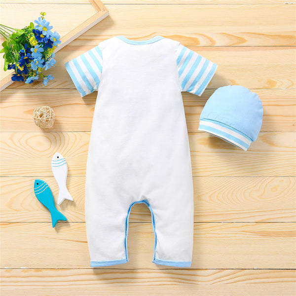 Baby Unisex Striped Letter Printed Short Sleeve Romper & Hat wholesale baby clothes usa