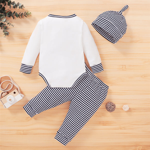 Baby Boy Striped Long Sleeve Button Romper & Pants & Hat Wholesale Baby Boutique Items