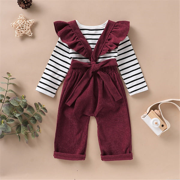 Girls Striped Long Sleeve Casual Top & Solid Color Jumpsuit Kids Fashion Wholesale
