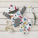 Baby Boys Striped Long Sleeve Dinosaur Printed Hooded Top & Pants Baby Clothes Vendors