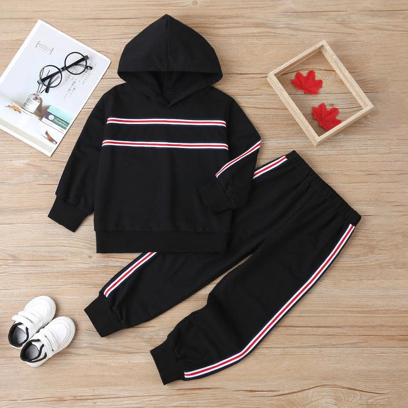 Unsiex Striped Long Sleeve Hooded Casual Top & Pants Trendy Kids Wholesale Clothing