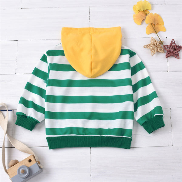 Unisex  Striped Long Sleeve Hooded Tops Trendy Kids Wholesale Clothing