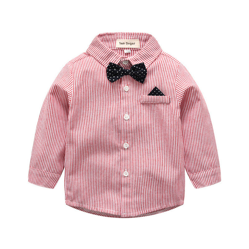 Boys Striped Long Sleeve Lapel Tie Shirt & Pants