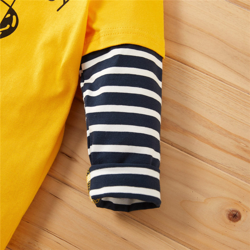 Boys Striped Long Sleeve Letter Print Tops