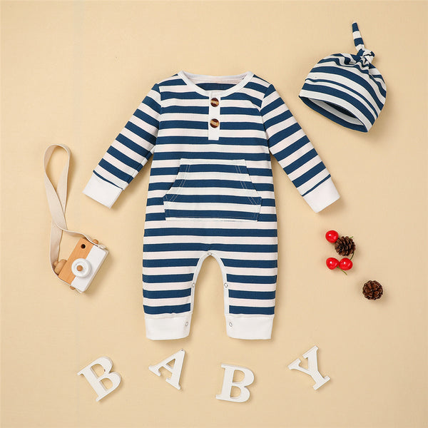 Baby Boys Striped Long Sleeve Romper & Hat Baby Clothing Distributor