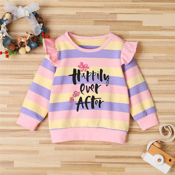 Girls Striped Long Sleeve Ruffled Happy Ever After Top Wholesale Little Girls Clothes