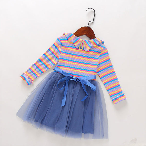 Girls Striped Long Sleeve Tulle Princess Dress Girls Dress Wholesale