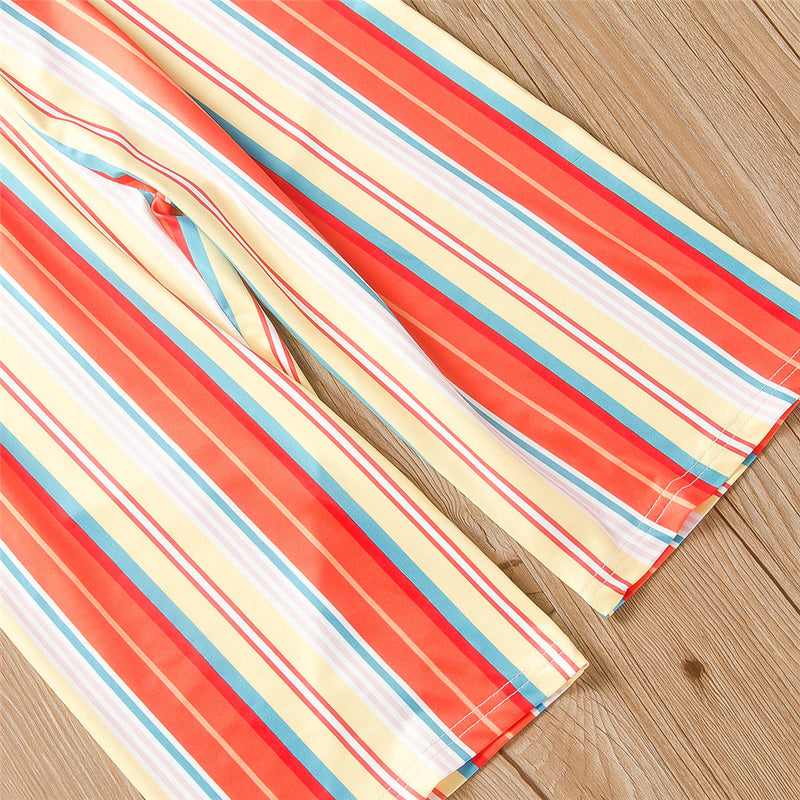 Girls Striped Lotus Leaf Collar Jumpsuit Kids Wholesale Clothing