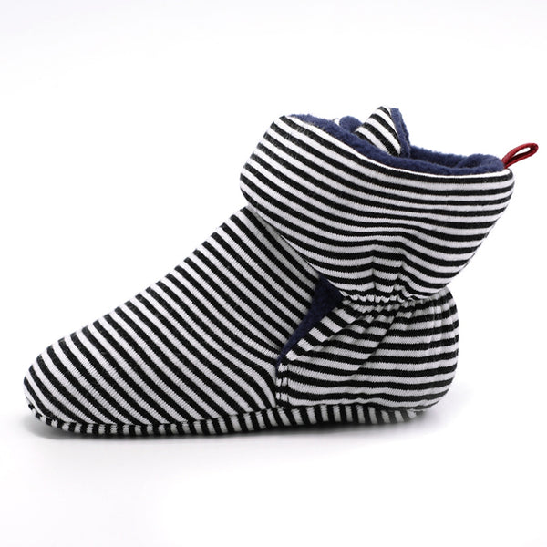 Baby Girls Striped Magic Tape Warm Boots