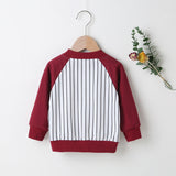 Baby Boys Striped Number Printed Color Block Long Sleeve Jacket Baby Clothes Wholesale Suppliers