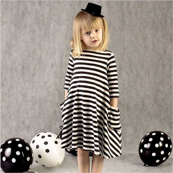 Girls Striped Pocket Long Sleeve Casual Dress