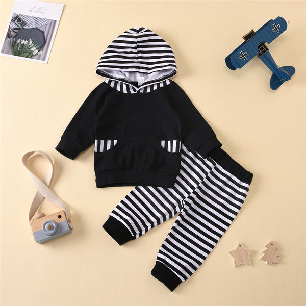 Baby Boys Striped Pocket Long Sleeve Hooded Top & Pants Baby Wholesale Clothing