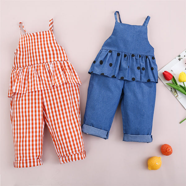 Girls Striped Polka Dot Printed Ruffled Sling Romper wholesale kids clothing suppliers