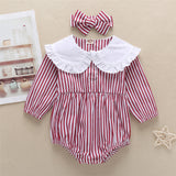 Baby Girls Striped Print Doll Collar Long Sleeve Rompers & headband