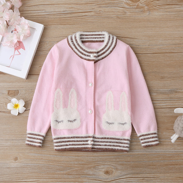 4PCS Baby Girls Striped Rabbit Long Sleeve Cardigan Sweaters Wholesale Baby Boutique Items