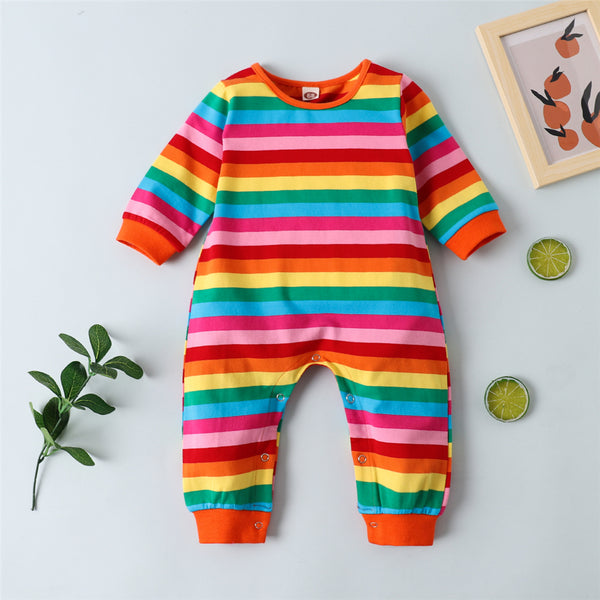 Baby Striped Rainbow Color Long Sleeve Romper Baby Wholesale Clothes