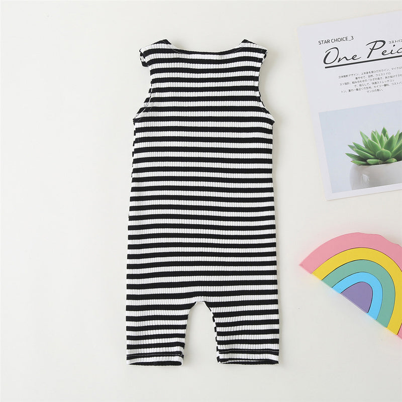 Baby Unisex Striped Rainbow Embroidery Sleeveless Romper Baby Clothes Vendors