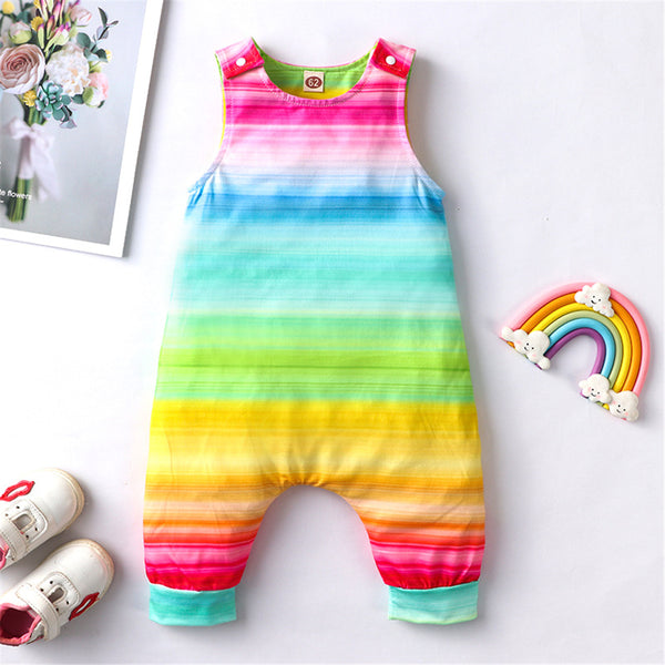 Baby Girls Striped Rainbow Sleeveless Romper wholesale toddler clothing