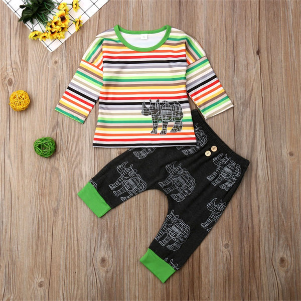 Baby Boy Striped Rhino Pattern Long Sleeve Top & Pants Baby Wholesales