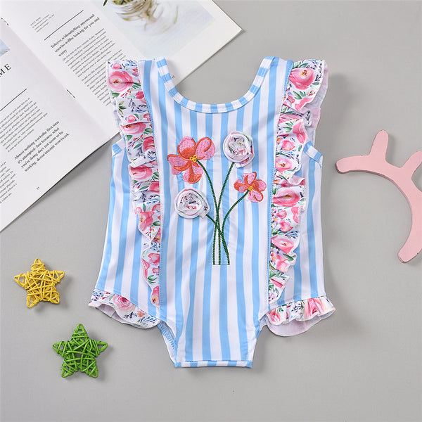 Girls Striped Ruffled Floral Printed Sleeveless Swimwear Wholesale Baby Cloths