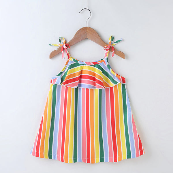 Girls Striped Ruffled Suspender Dress Girls Wholesale Dresses
