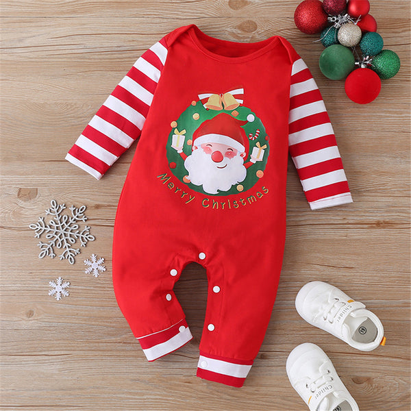 Baby Striped Santa Claus Long Sleeve Romper Christmas Baby Clothes