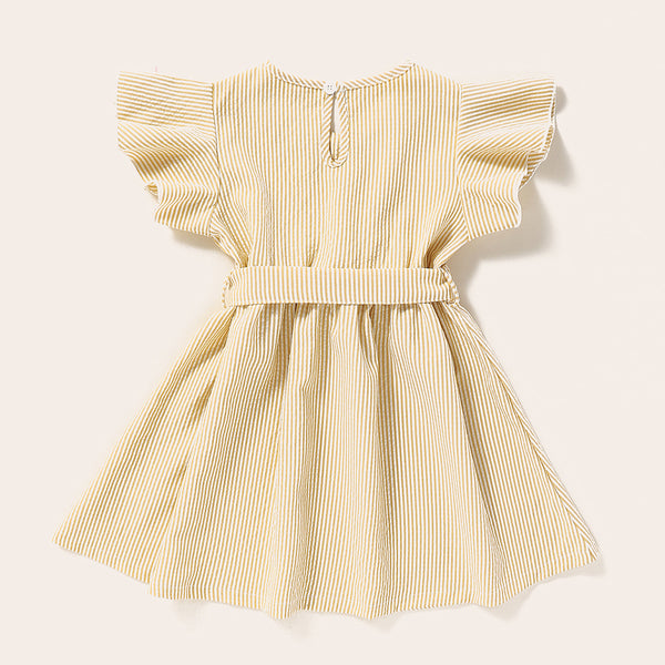 Girls Striped Short Sleeve Belt Embroidery Collar Dress Baby Girl Clothes Wholesale