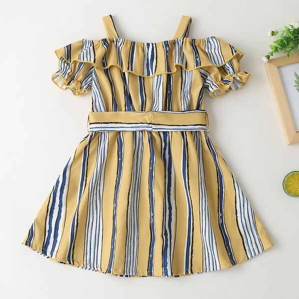 Girls Striped Short Sleeve Button Dress wholesale kids clothing suppliers