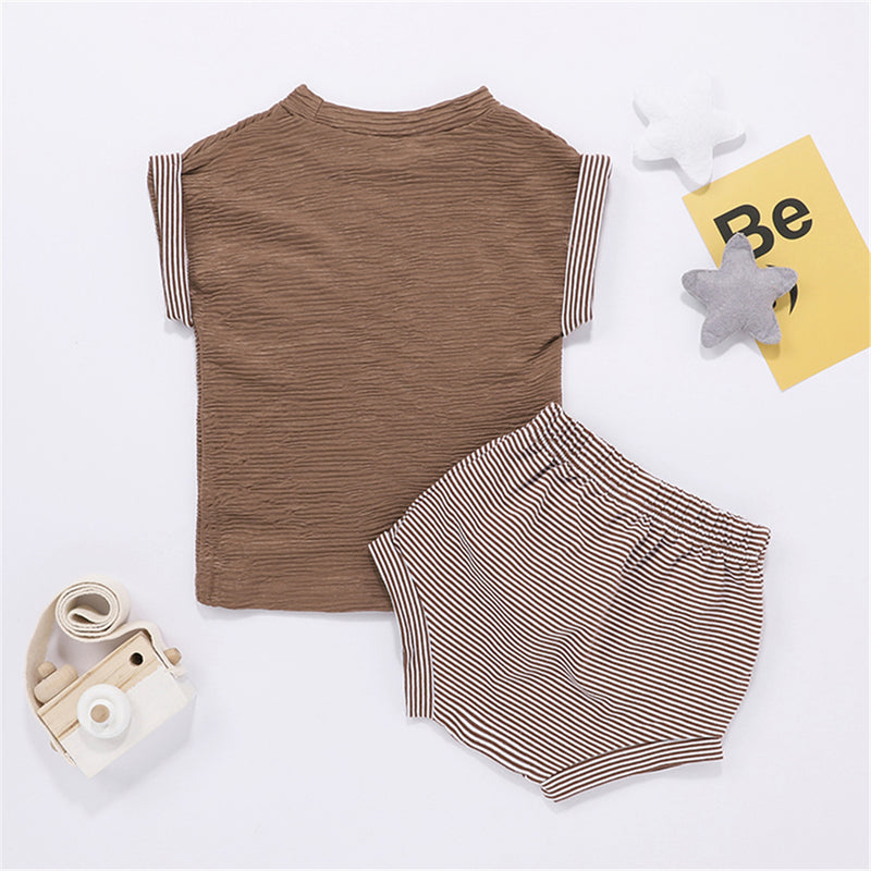 Baby Girls Striped Short Sleeve Casual Top & Shorts Wholesale Baby Cloths