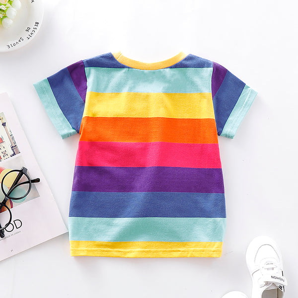 Unisex Striped Short Sleeve Crew Neck Top Kids Boutique Wholesale