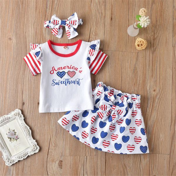 Girls Striped Short Sleeve Letter Printed Star Top & Skirt & Headband kids wholesale clothes