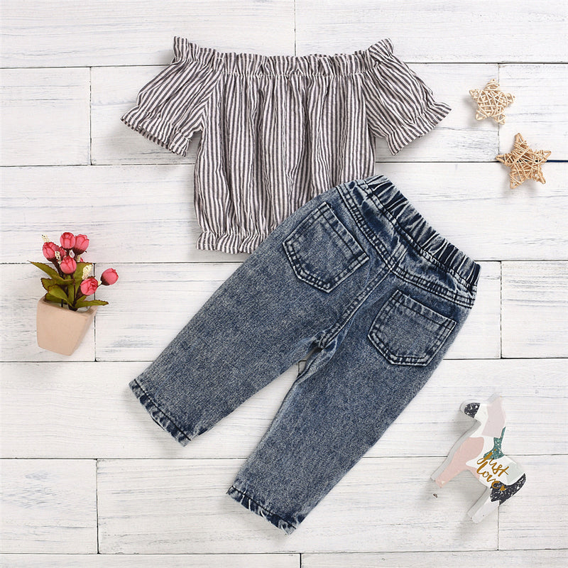 Girls Striped Short Sleeve Off Shoulder Top & Ripped Jeans Children's Wholesale Boutique Clothing