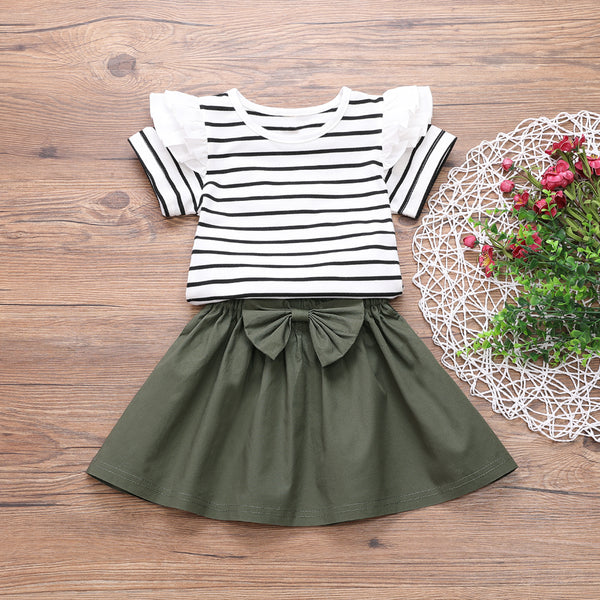Girls Striped Short Sleeve Ruffled Top & Solid Skirt wholesale childrens clothing
