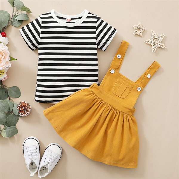Girls Striped Short Sleeve T-Shirts & Solid Suspender Dress Wholesale Baby Girl Clothes