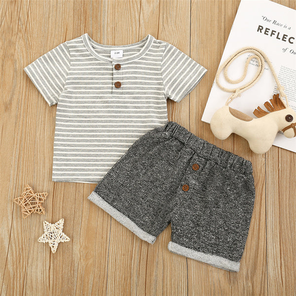 Baby Boys Striped Short Sleeve Top & Shorts wholesale baby boy clothes