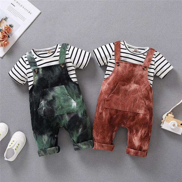 Baby Unisex Striped Short Sleeve Top & Tie Dye Overalls wholesale baby boutique suppliers usa