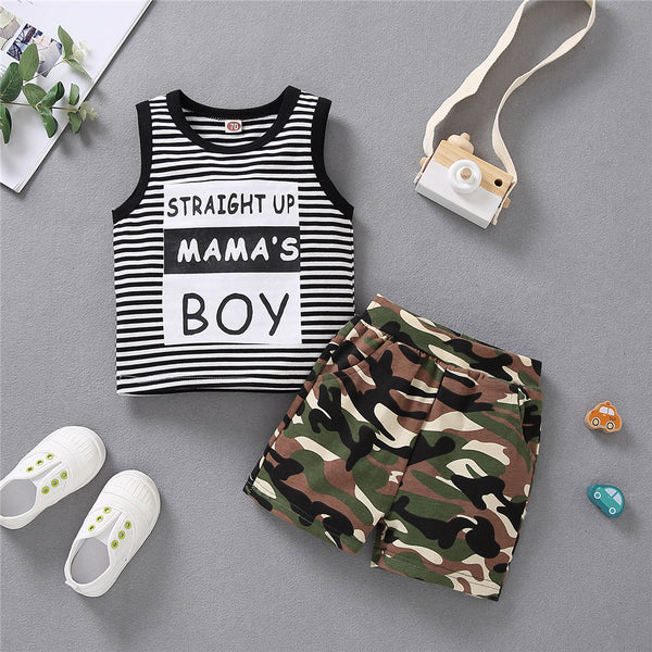Boys Striped Sleeveless Letter Printed Top & Camo Shorts kids wholesale clothing